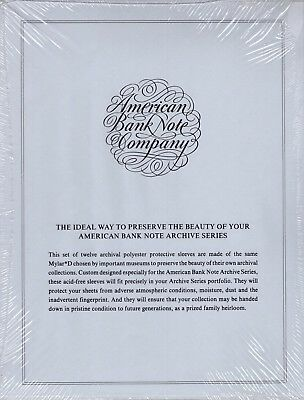 t6 ONE PACKAGE of 12 ARCHIVAL POLYESTER PROTECTIVE SLEEVES AMERICAN BANK NOTE CO