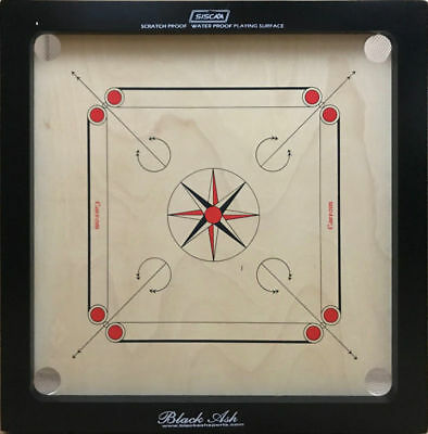 "Black Ash Galaxy Junior Carrom Board Indian plywood 27""X27"" with coins & striker"