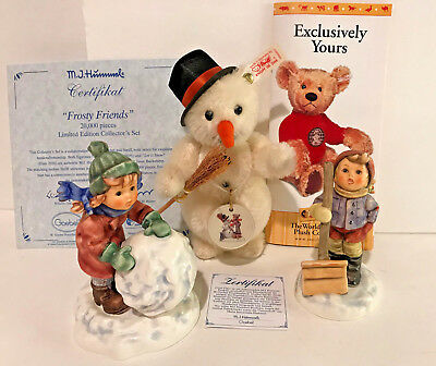 Hummel goebel 2035 + 2036 frosty friends collector set w/steiff snowman 3pc