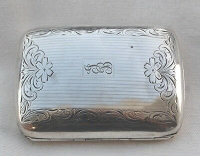 BEAUTIFUL Antique Solid Sterling SILVER Cigarette Case Monogrammed JB 59 grams