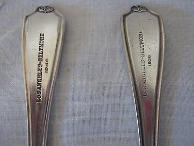 Los Angeles Biltmore Hotel Gorham Two Silverplate Teaspoons 1938 and 1946