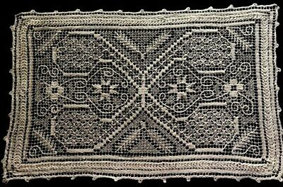 "Atique Exceptional Needlework over Darning on Knotted Net Lace Doily, 12 "" x 8"