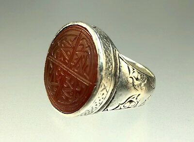 Safavid Antique Islamic Persian Agate Silver Signet Ring Calligraphy Engraving
