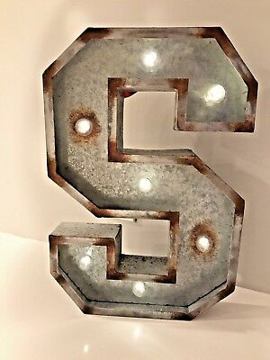 """Large 19.5"""" Silver Galvanized Distressed Metal Letter & Marquee """"S"""" with Lights"""