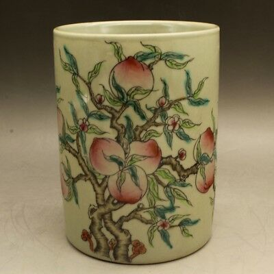 Chinese old porcelain Hand painted famille rose peach brush pot c02
