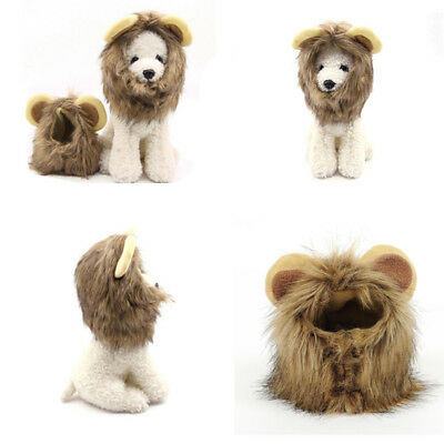 Pet Dog Hat Costume Lion Mane Wig For Cat Halloween Cosplay Dress Up With Ears