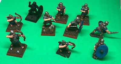 10 X Wargames Foundry EIR 28mm Roman Auxilia, partially painted, metal figures