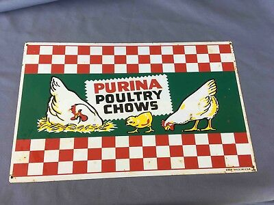 Old ORIGINAL Purina Poultry Chows Chicken Feed Advertising Sign