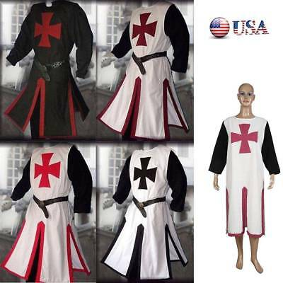 Cosplay Medieval Templar Knight Crusader Surcoat Tunic Reenactment Party Costume