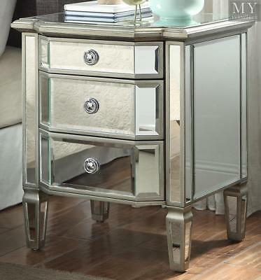 LEONORE Silver Bedside table - 3 Drw - Mirror & Antique Silver