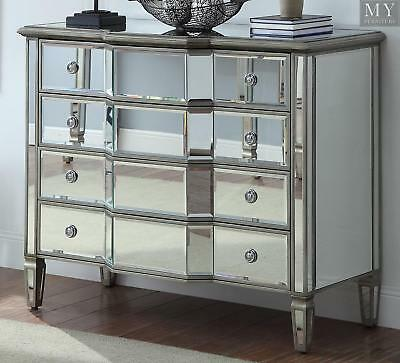 LEONORE Silver Chest of 4 Drawers - Mirror & Antique Silver