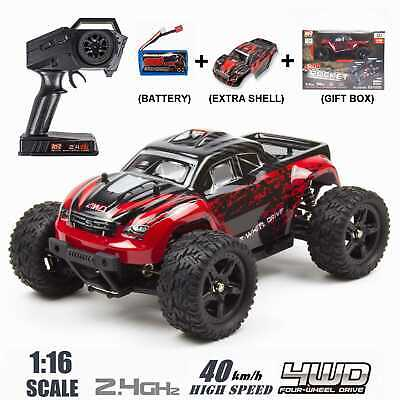 REMO 1/16 RC Monster Truck 4WD Off-Road 2.4Ghz Brushed Remote Control Car Red