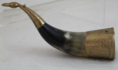 Decorative Collectible Vintage Stein Horn With Brass 8.5""