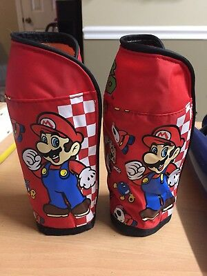 lot 2 Foldable Insulated Bag Water Bottle Koozie Cooler Coozie Bag MARIO LUIGI