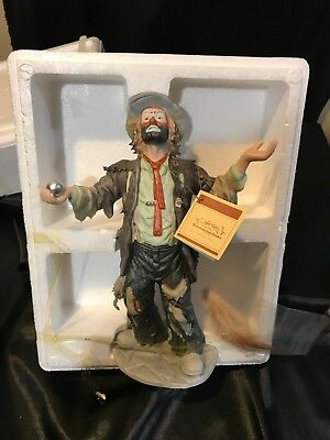 emmett kelly jr flambro collection Clown With Feather SIGNED NEW IN BOX