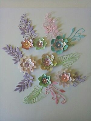 FLOWERS handmade & foliage embellishments 16 items cut from card stock