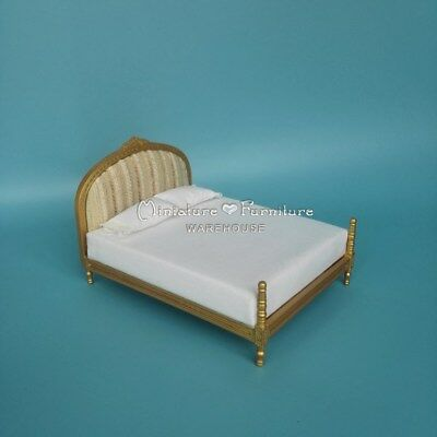 Sale 1:12 Scale Dollhouse Miniature Furniture Bedroom Set  Bed White-Gold