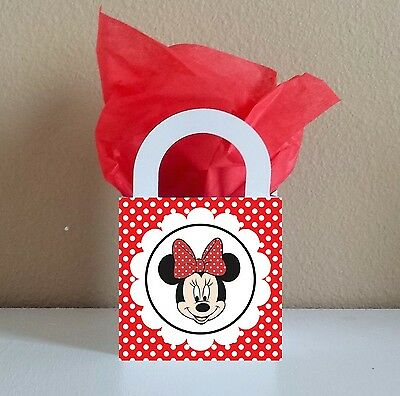 12 Red Minnie Mouse Favor Boxes Centerpieces Birthday Party Favor