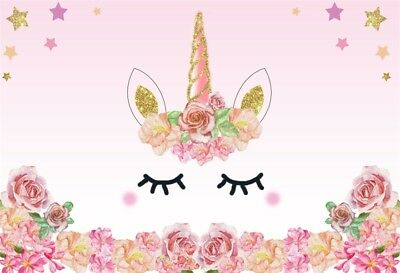 UK Cute Eye Unicorn Backdrops Birthday Event Portrait Photo Background 7x5ft Hot