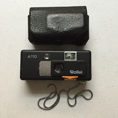 Vintage Rollei A110 Mini Camera & Leather Case German Made Untested
