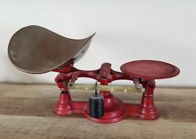 Antique Vintage Red Scale Hardware Bakery General Store Industrial