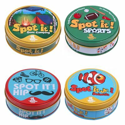 """NEW Card Game """"SPOT IT"""" Hip/Animal/Sports/Numbers for Kids Adult With Box Game"""