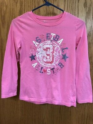 Girls Long-Sleeve Shirt, Size L 10/12, Chldrens Place, Basketball All Star, Pink