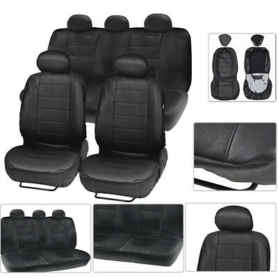9pc Black Car Seat Cover Faux Leather Cushion Front&Rear Full Protector Mat Set