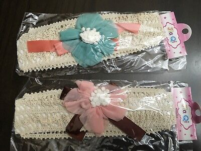 2 Infant Baby Girl Head Wraps/Head Bands