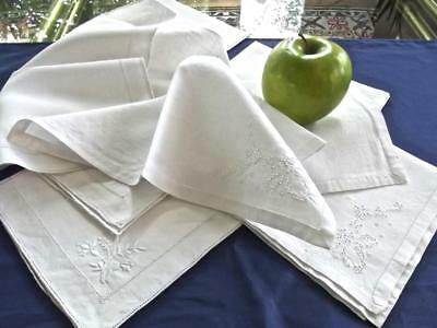 """Lot 8 Antique All-White Irish Linen 13"""" Cocktail Tea Napkins Lovely Embroidery"""