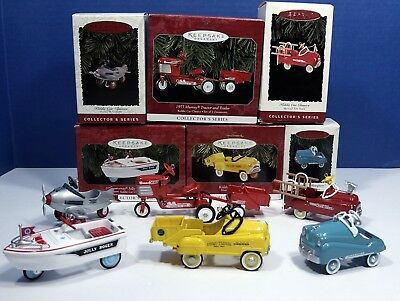 6 Hallmark KIDDIE CAR CLASSICS Lot MURRAY Airplane Jolly Roger Tractor &Trailer+