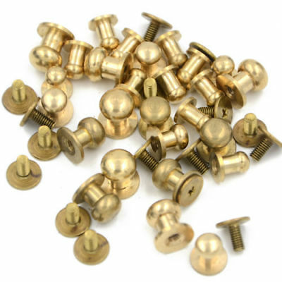 5-500pcs Stud Screw Round Head Solid Brass Nail Rivet Chicago Button DIY Leather