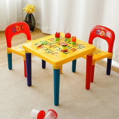 Letter Kids Table and 2 Chairs Play Set Toddler Child Toy Activity Furniture US