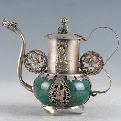 Delicate Chinese Silver Inlaid Jade Handmade Dragon & Kwan-Yin Teapot