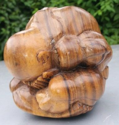 Hand Carving wood weeping Buddha Monk Meditation paperweight Indonesia figurin