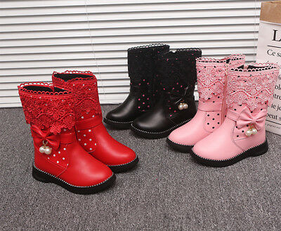 Fashion Winter Warm Kids Boots Cute Bow-knot Children Princess Shoes for Girls