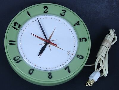 Vintage 1950's Lux Green Electric Wall Clock