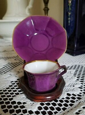 Art Deco PURPLE Demitasse Teacup & Saucer GRAF & KRIPPNER Bavaria - Unique Color
