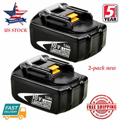 NEW 2PK 18V 5.0Ah FOR MAKITA BL1860 BL1830 1850 1840 LITHIUM ION BATTERY LXT US