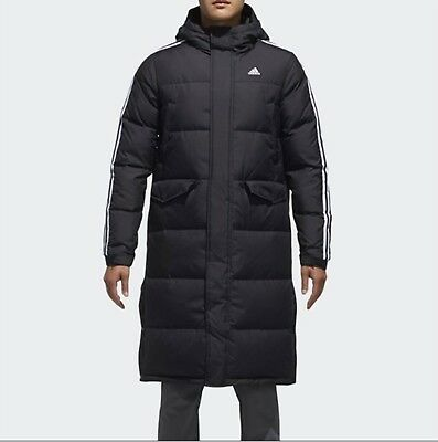 899a9e117fdc Adidas Men 3STR Long Down Coat Padded Jacket Black Warmer Top Parka Coat  DT7920