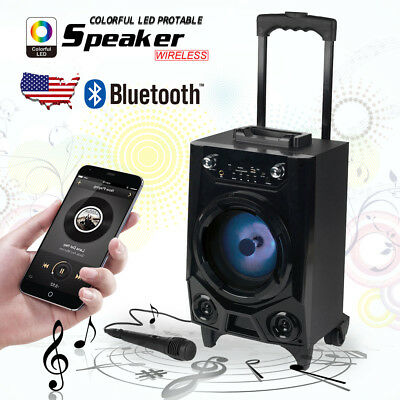 Bluetooth Portable Karaoke Party PA DJ Speaker + Wireless Mic LED Flashing Light