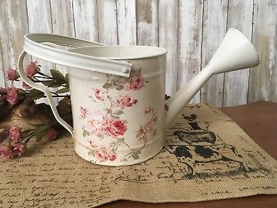 SHABBY CHIC Metal Planter Vtg. ROSES Off-White+Beige WATERING CAN+Handle