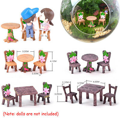 Dollhouse Accessories Miniature Table and Chairs  Fairy Garden Landscape