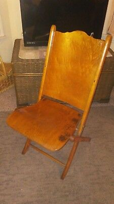 1920s TIGER OAK CURVED/BENT WOOD/STEEL FOLDING DECK TYPE CHAIR-NICE-3 DAY NO RES
