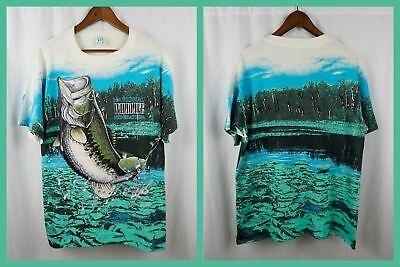 Vintage NATIONAL WILDLIFE FEDERATION T SHIRT All Over Print L/XL Leaping Fish 90