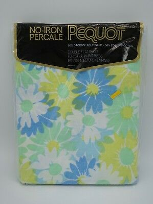 NIP Vintage Pequot Springs Floral Sheets Double Full Blue Green White Flowers