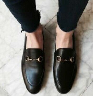 8fdf6d26324e NIB GUCCI JORDAAN Horsebit Black Leather Loafer Flat 40.5 -  559.99 ...