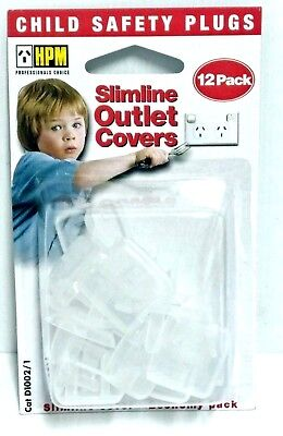 HPM Child Safety Plugs Slimline Outlet Covers 12 Pack