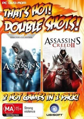 Assassin's Creed 1 & Assassin's Creed II Double Shot PC DVD ROM 2 Games Like New