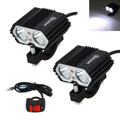 2x 125W LED Headlamp Motorcycle Dirt Bike ATV Front Fog Light & Switch Universal